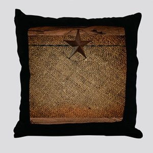 burlap barn wood texas star Throw Pillow